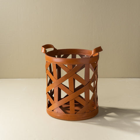 leather lattice decorative basket