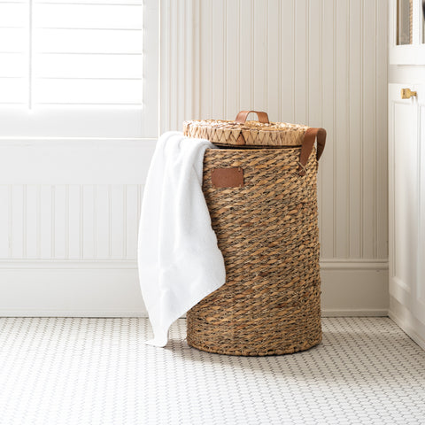 woven water hyacinth and seagrass tall hamper