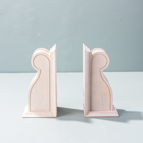 cream wooden traditional bookends