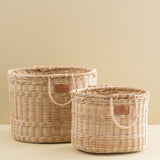 oval shaped wicker basket with handles