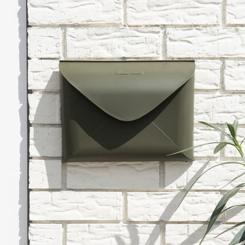 olive green metal wall envelope mail box