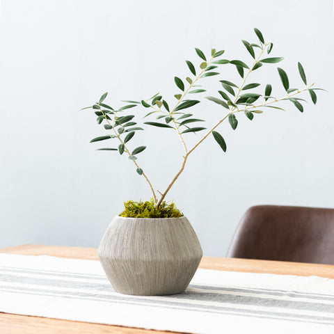 grey textured modern geometric pot