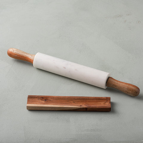 White Marble & Acacia Rolling Pin with Rest