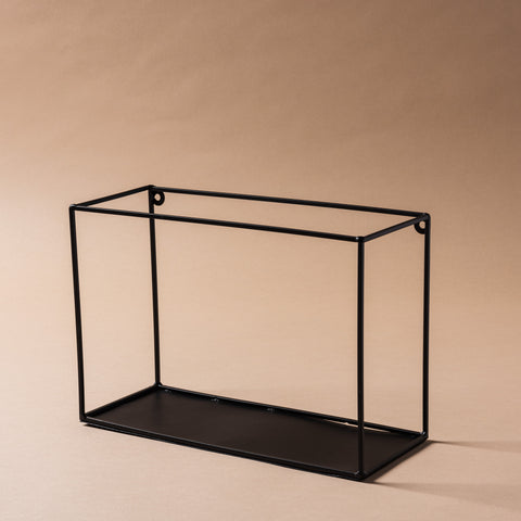 black metal box frame wall shelf