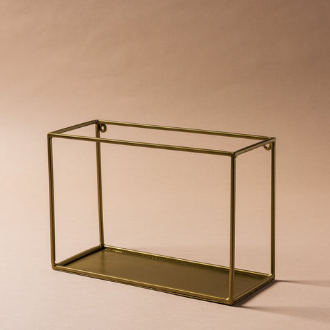 gold metal modern wall shelf