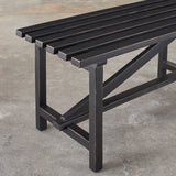black wooden open slat bench