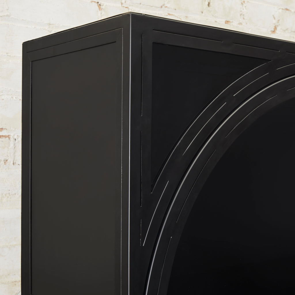 black metal curio cabinet with doors and drawers