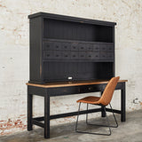 distressed black wooden desk with medium stained wooden top