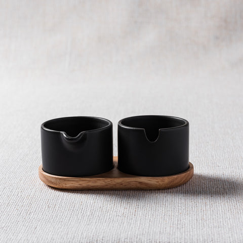Maeve Black and Wood Spice Holder