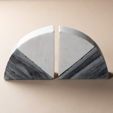 white and grey marble quarter-circle bookends