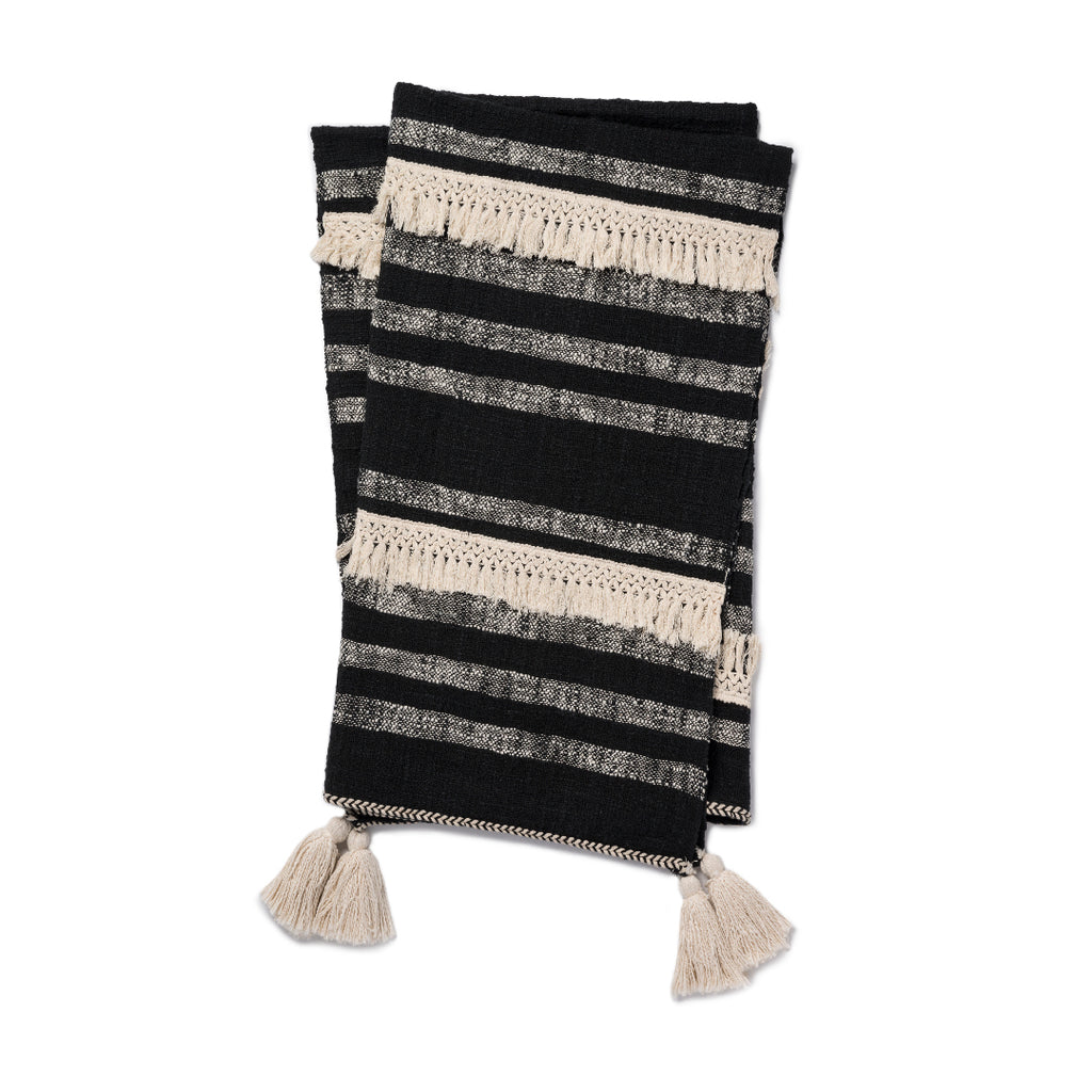 black and cream striped throw with cream tassels