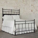 black metal bed with finial posts
