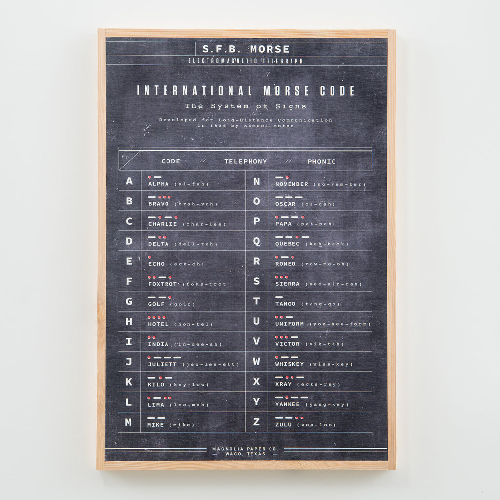 Hanging wooden black sign with morse code