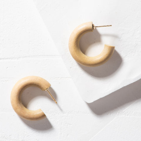 gold driftwood mini hoop earrings