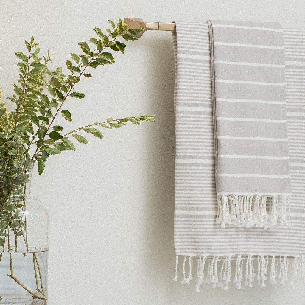 white and grey striped fouta towels
