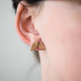 mini beige leather leaf shaped earrings