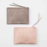 blush pink leather clutch