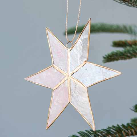 Blush Capiz Star Ornament