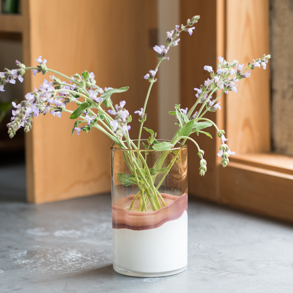 white and blush ombre glass vase
