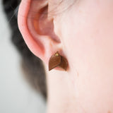 mini brown leather leaf shaped earrings