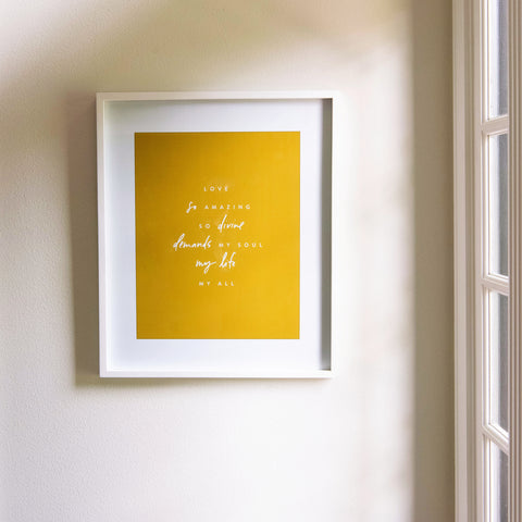 white wood framed art print with a hymn created by magnolia