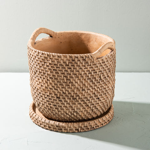 clay basketweave pot with saucer