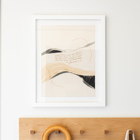 "white framed art print with abstract color and quote saying ""through all that has changed and all that is the same, you are free to breathe deep and fall into the rhythms of grace - MHN"""