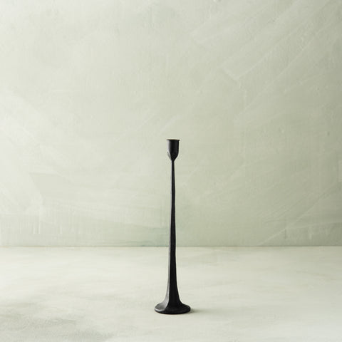 black iron faceted taper candle holder