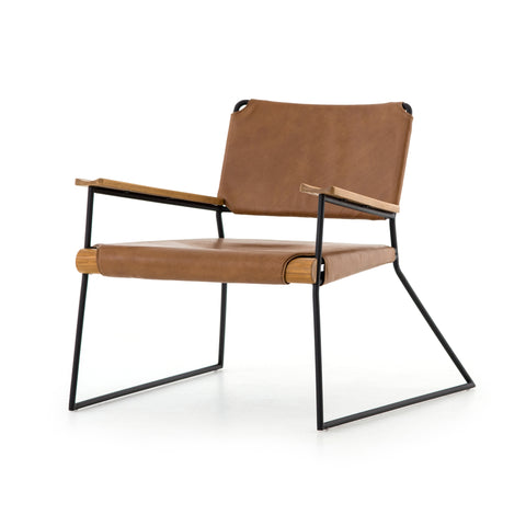 brown leather sling chair with black metal and wood frame