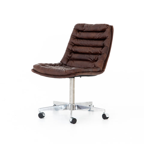 dark brown leather rolling desk chair with chrome base