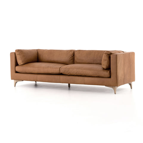 modern brown leather sofa with wooden legs