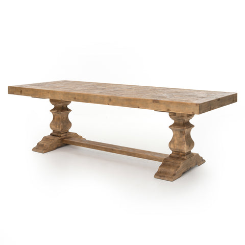 rustic wooden rectangular dining table with trestle base