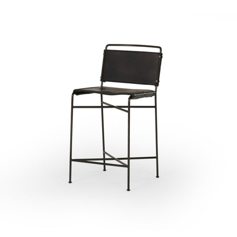 black metal counter stool with black leather seat and back