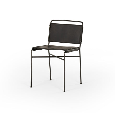 modern metal dining chair with distressed black leather seat and back