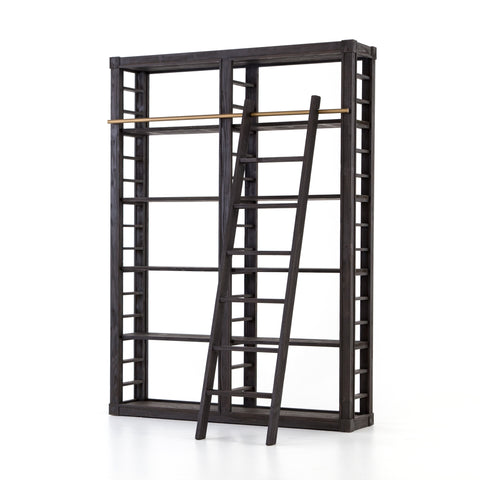 dark stained wooden bookcase with brass rail and slide ladder