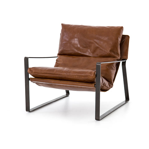 modern brown leather sling chair with black metal frame
