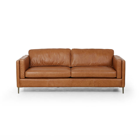modern saddle brown leather sofa with metal legs