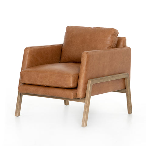 modern saddle leather arm chair with wooden show-frame base and legs