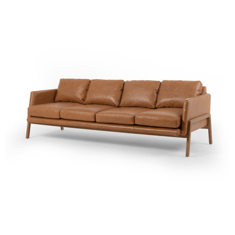 modern saddle leather sofa with wooden show-frame base and legs