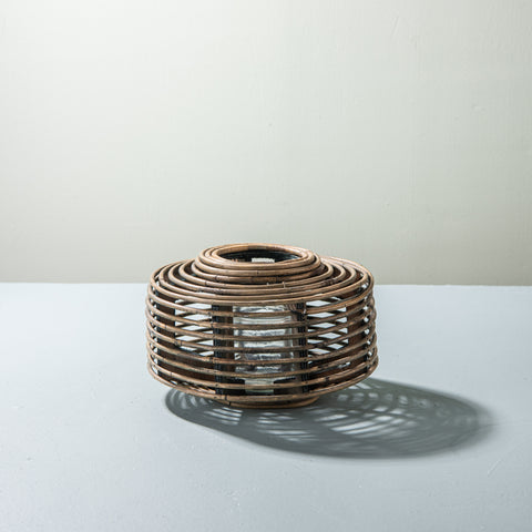 small round rattan pillar candle lantern