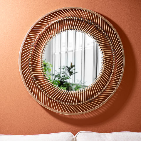 bohemian bamboo framed circle mirror