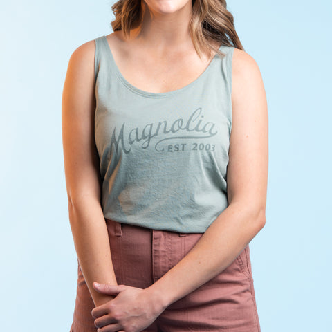 light green tank top with script magnolia logo
