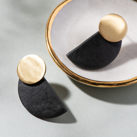 black ceramic and brass half circle post earrings