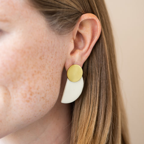 ivory ceramic and brass half circle post earrings