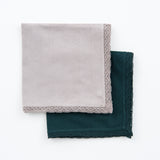 GREY AND GREEN CROCHET EDGED NAPKINS