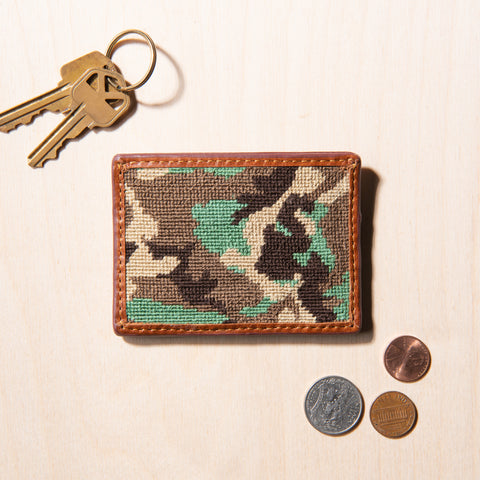 camo patterned nylon and leather credit card wallet