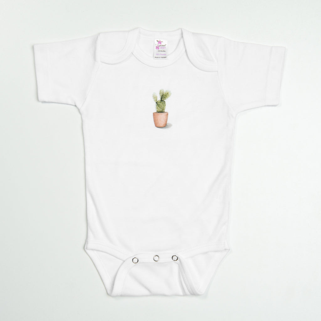 white baby short-sleeve bodysuit with small cactus on front
