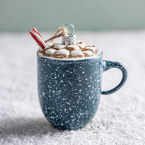 blue speckled mug with cocoa and marshmallows christmas ornament