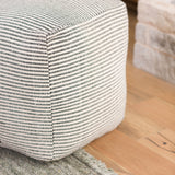 black and white striped square floor pouf