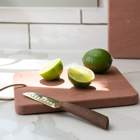 terracotta ceramic serving board with leather loop